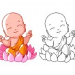 Little cartoon monk on the lotus. Page for colorin...