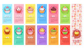 Calendar for 2017 year with cupcakes