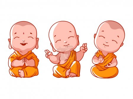 Set of little meditating monks. Vector cartoon ill...