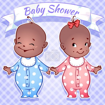 Illustration for Card for Baby Shower - black boy and girl on a blue - Royalty Free Image