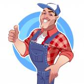 Smiling man in overalls with a raised finger