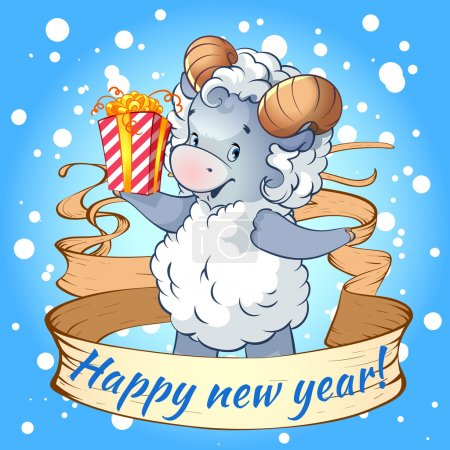 New year card with a symbol of 2015 - sheep