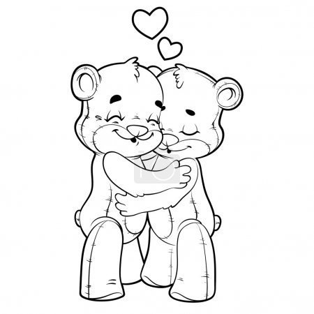 Two cute teddy bears in love outlined on a white background