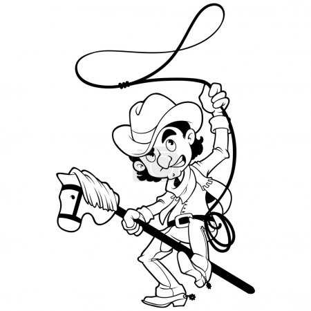 Cowboy with lasso on a stick-horse outlined on a white backgroun