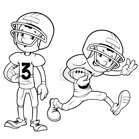 American football player outlined on a white background