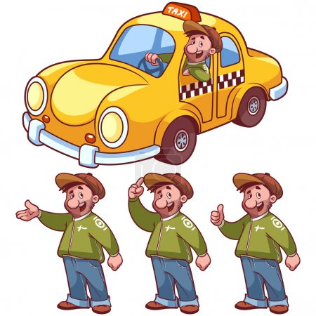 Illustration pour Chauffeur de taxi et voiture sur fond blanc - image libre de droit