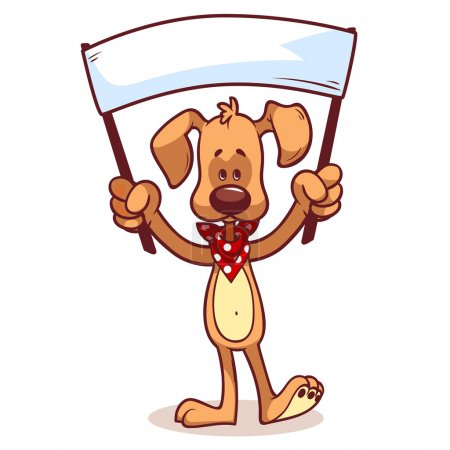 Character dog with a banner