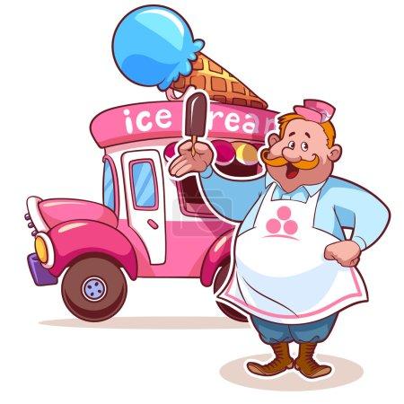 Illustration pour Cartoon voiture de crème glacée avec le vendeur - image libre de droit