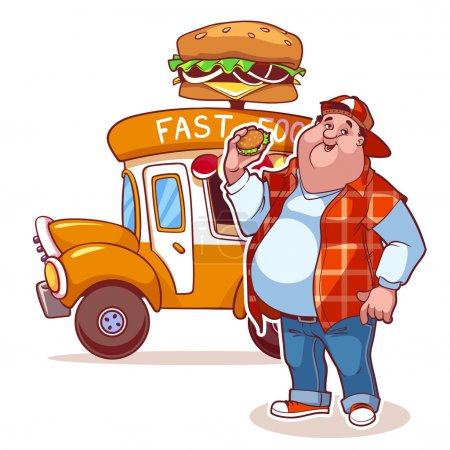 Cartoon fast-food car with the fat man