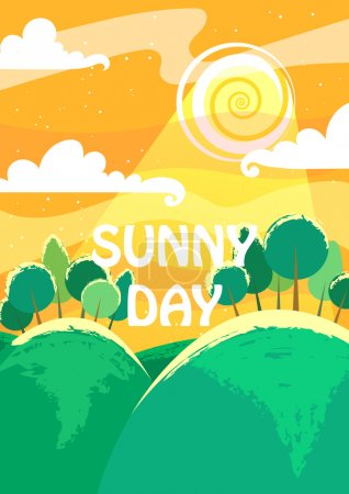 Illustration for Sunny day landscape. A4 proportions. - Royalty Free Image