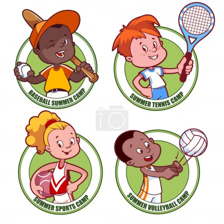 Logo for the kids sports camp. Vector illustration on white back