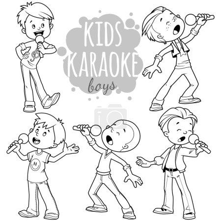 Cartoon children sing with a microphone. Vector clip art illustr