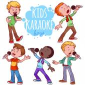 Cartoon children sing with a microphone Vector clip art illustr