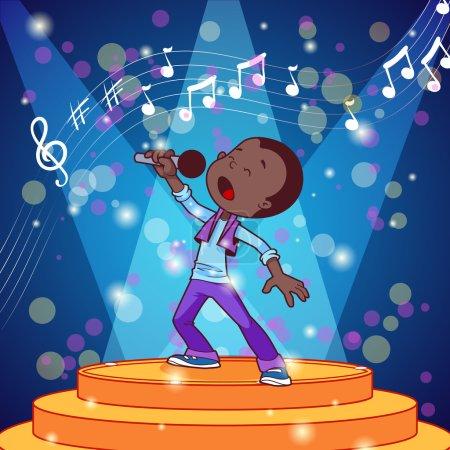 Cartoon boy singing with a microphone. Vector clip art illustrat