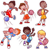 Cartoon kids playing dodgeball Vector clip art illustration on