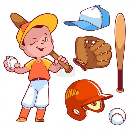 Cartoon boy playing baseball. Baseball equipment. Vector clip ar