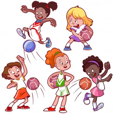 Cartoon kids playing dodgeball. Vector clip art illustration on