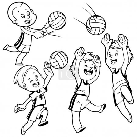 Cartoon kids playing volleyball. Vector clip art illustration on