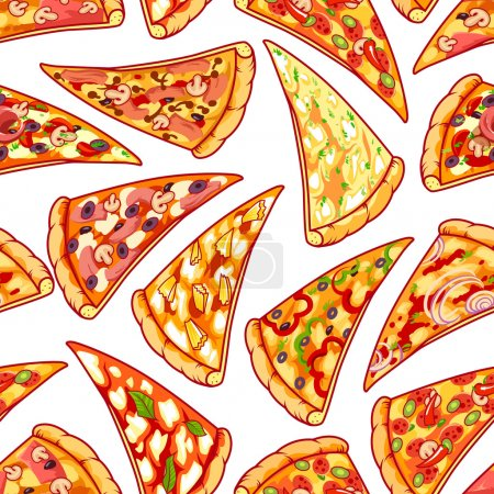 Seamless pattern with pizza. Vector clip art illustration