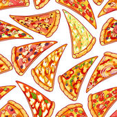 Seamless pattern with pizza Vector clip art illustration