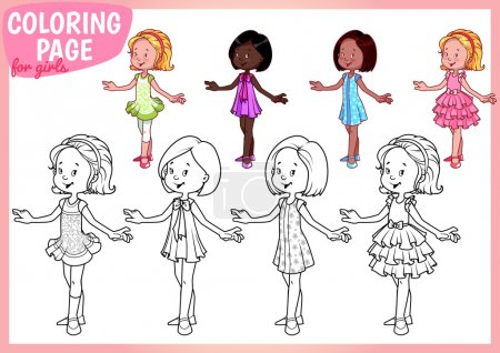 Coloring page for girls. Four young ladies in beautiful dresses.