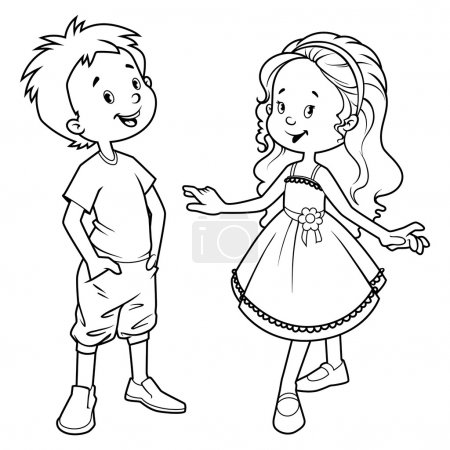Very cute kids. Boy and girl.