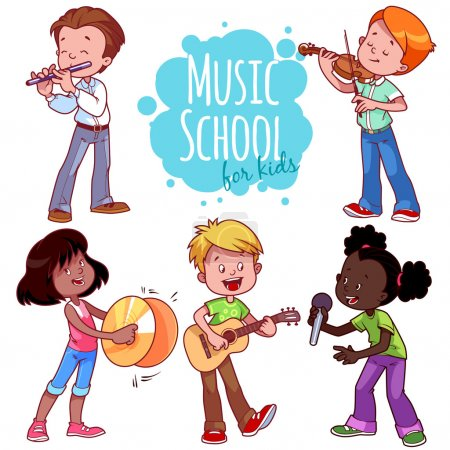 Illustration for Cartoon kids playing musical instruments and singing. Vector clip art illustration on a white background. - Royalty Free Image