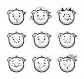 Set smiles pig Monochrome emotions icons