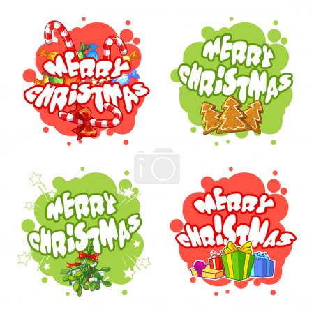 Christmas logo with gifts, candies, cookies and branch of mistle