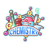 Chemistry title with chemical elements and flasks on a white bac