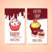 Two vertical business card template for Pastry shop