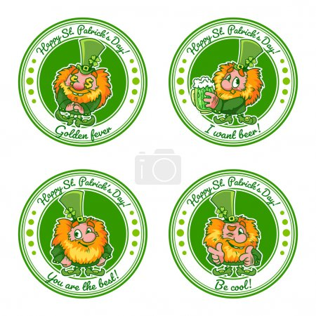 Set of four round stickers with leprechauns for St. Patrick's Da