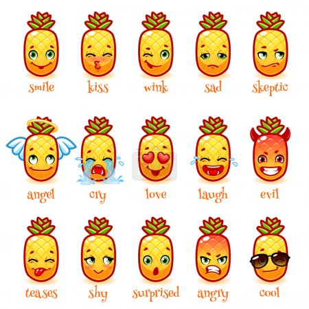 Illustration for Set of emoticons funny pineapple. Smile, kiss, wink, sad, skeptic, evil, cry, laugh, teases, shy, surprised, angry, cool and in love. Vector icons on a white background. - Royalty Free Image