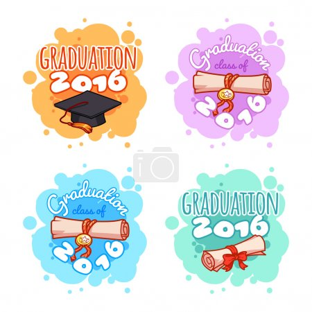 Four badges for 2016 graduation ceremony.