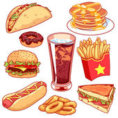 Set of cartoon fast-food icons on white background