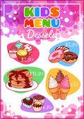 Kids Menu for different desserts