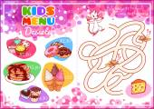 Kids Menu for desserts with maze game