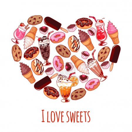 Banner with different sweets in a heart shape with inscription ""