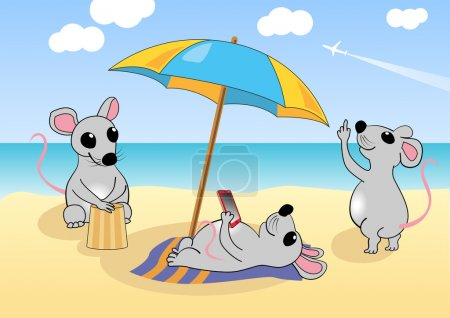 Mice is resting on the beach. Vector illustration