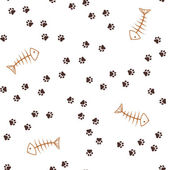 Animal footprints and fish bones seamless background