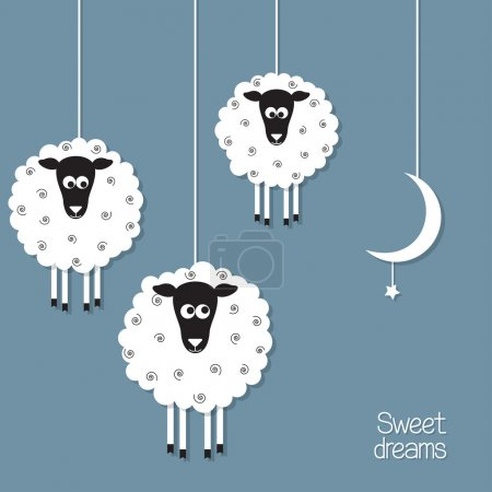 Illustration for Cute sheep and moon in paper cut out style. Sheep counting concept - Royalty Free Image