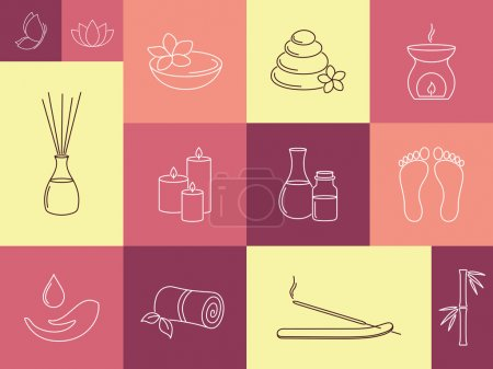 Illustration for Set of linear icons for SPA, ayurveda, beauty treatment and health care - Royalty Free Image