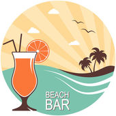 Retro style poster for beach bar or summer cocktail party design