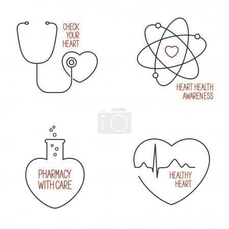 Heart health icons set