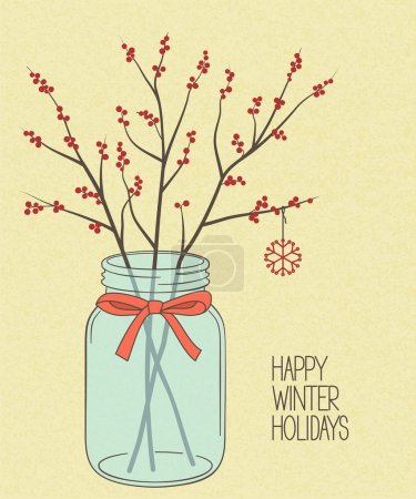 Holly twigs in Mason jar