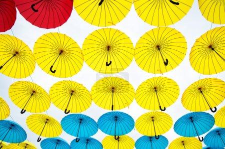 Photo pour Bright colorful umbrelas isolated white  background - image libre de droit