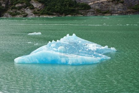 blue icebergs and ice chunks in water nearby Alaska