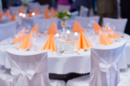 blurred Table setting at a luxury wedding reception
