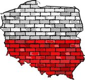 Grunge map and flag of Poland on a brick wall  Map of the Poland with flag inside  Poland map painted on brick wall  Abstract grunge Polish flag in brick style