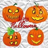 Set of spooky halloween jack o lanterns